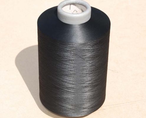 polyestrized textured yarns in various colors